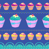 Patterm with cupcakes — Stockvektor