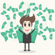 Business Man with money Vector Illustration — Stock Photo