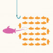 Pink fish taking a risky different way,idea concept. — Stock Photo