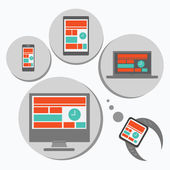 Responsive web design for different devices — Stockfoto