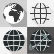 Globe earth vector icons set With Long Shadow — Stock Vector
