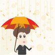 Businessman and Money Rain — Stock Vector