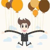 Businessman holding a balloon — Stock Vector