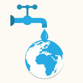 Torneiras e gotas, salvar o mundo, ilustrações — Vetorial Stock