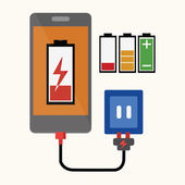 Smart phone With Charger — Stock Vector