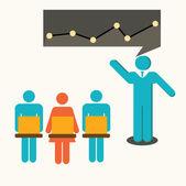 Businessman pointing presentation,meeting,illustration,vector. — Stock Vector