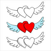 Flying in the clouds heart with wings, doodle — Vector de stock