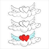 Flying in the clouds heart with wings, doodle — Vettoriale Stock