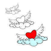 Flying in the clouds heart with wings, doodle — Stock Vector