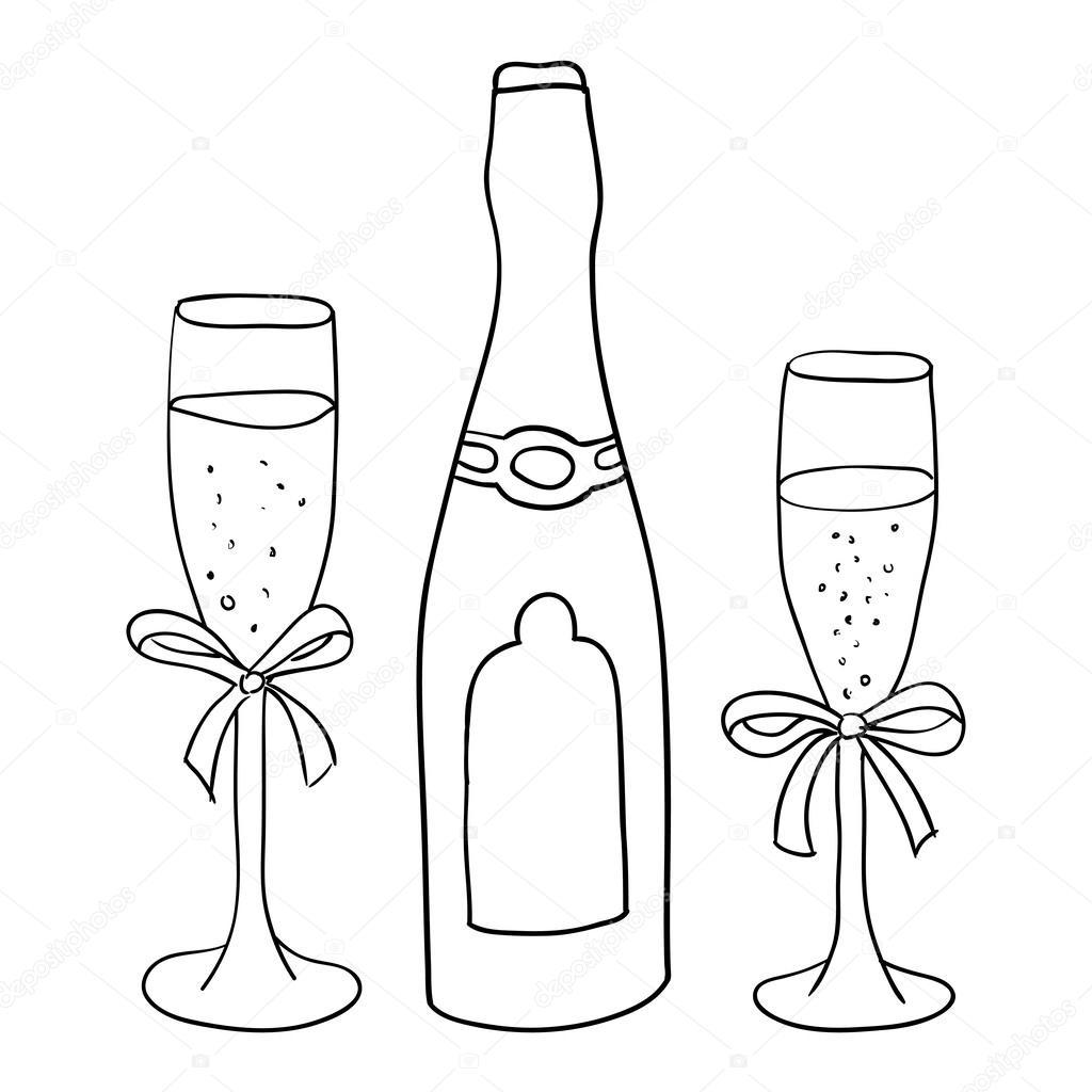 Бокалы шампанского раскраска