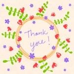 Floral frame. Thank you. doodle vector illustration. — Stock Vector