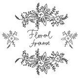 Floral doodle frame. Vector illustration. — Stock Vector