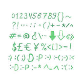 Watercolor numbers and symbols. — ストックベクタ