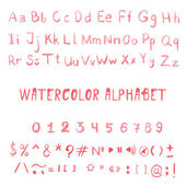 Watercolor alphabet, numbers and symbols. — Stock Vector