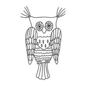 Owl hand drawn, isolated vector illustration — Stock Vector