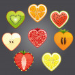 Stock Vector: Cut of differend fruits and berries in the shape of a heart. Vector.