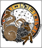 Vector Capricorn and the zodiac sign on a white background . Zodiac Stars sign. Horoscope circle. — 图库矢量图片