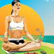 Vector Illustration . Young woman practicing yoga in the lotus position at sunset sitting on a beach. — Stock Vector