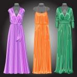 Three long evening elegant silk dresses. Vector illustration — Stock Vector