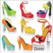 Vector colorful fashion women's shoes and sandals with high heels and platform on a white background .Casual and festive. — Stock Vector