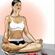Vector .Young woman practicing yoga in the lotus position . — Stock Vector