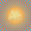 Vector.Hello summer!Twirl ornament,orange blue background. — Stock Vector
