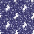 Vector winter white snowflakes and silhouette of a horses seamless pattern  or  background. — Stock Vector
