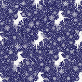 Vector Snowflakes and a horse seamless pattern — Stock Vector