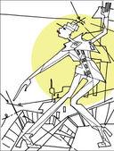Abstraktní žena stojící na střeše na pozadí city.vector grafické módní ilustrace. — Stock vektor