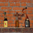 Five retro bottles unusual forms against a brick wall. — Stock Photo #36595597