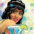 Portrait of funny  female with blue cocktail and gloved hand.Vector. — Stock Vector