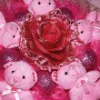 Four pink Teddy bears and artificial flower.Christmas compositio — Stock Photo