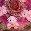 Tree Teddy bears in the original composition of pink color. — Stock Photo #37704831