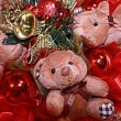Stock Photo: Teddy bears and new year's accessory.Christmas composition in re