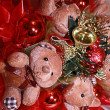 Teddy bears and new year's accessory Christmas composition — Stock Photo
