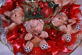 Teddy bears and new year's accessory.Christmas composition in re — Stock Photo