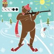 Brown bear biathlete takes aim. Vector humorous illustration. — Stock Vector #38544051