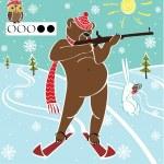 Brown bear biathlete takes aim. Vector humorous illustration. — Stock Vector