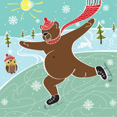 Brown bear is skating on the skating rink. Vector humorous illustration — Stock Vector