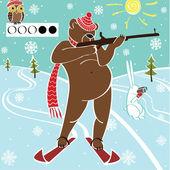 Boz ayı biatloncu amacı alır. esprili çizim vektör. — Stok Vektör