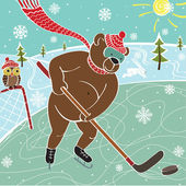 Brown bear hockey in nature. Vector humorous illustration — Stock Vector