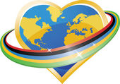 Еarth in the shape of heart with Olympicrings around.Vector Illustration — Vetorial Stock