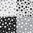 Stars in a set of seamless pattern or background.Vector. — Vettoriale Stock