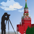The Moscow Kremlin.The photographer.Vector illustration — Stock Vector