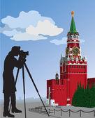 The Moscow Kremlin.The photographer.Vector illustration — Stock Vector