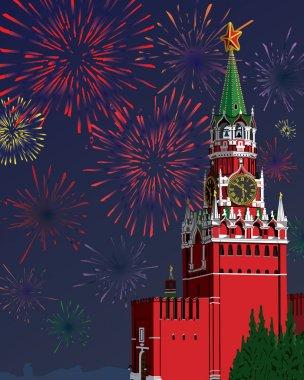 The Moscow Kremlin.Festive fireworks.Vector illustration