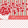 Vintage Valentines Design Template with hearts and polka dot — Stock Vector #40009851