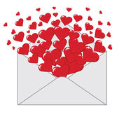 Love letter with hearts Valentines.Vector — Stock Vector