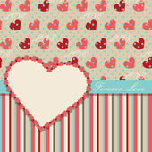 Valentines Design Template with hearts and strips — Stock Vector