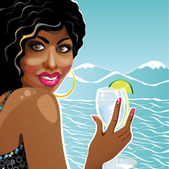 Smiling girl mulatto holding glass of clean water.Illustration — Stock Vector